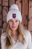 Cable Knit Foxy Beanie in White with Fleecy Lining