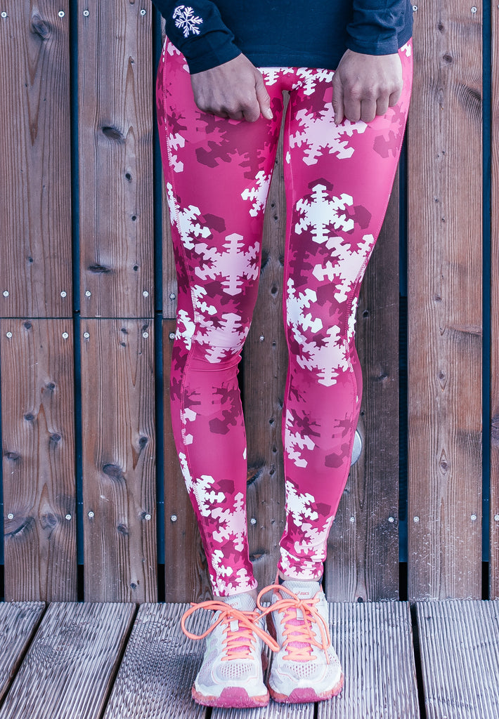 """Snow Camo is the New Black"" Compression Leggings in Pink"