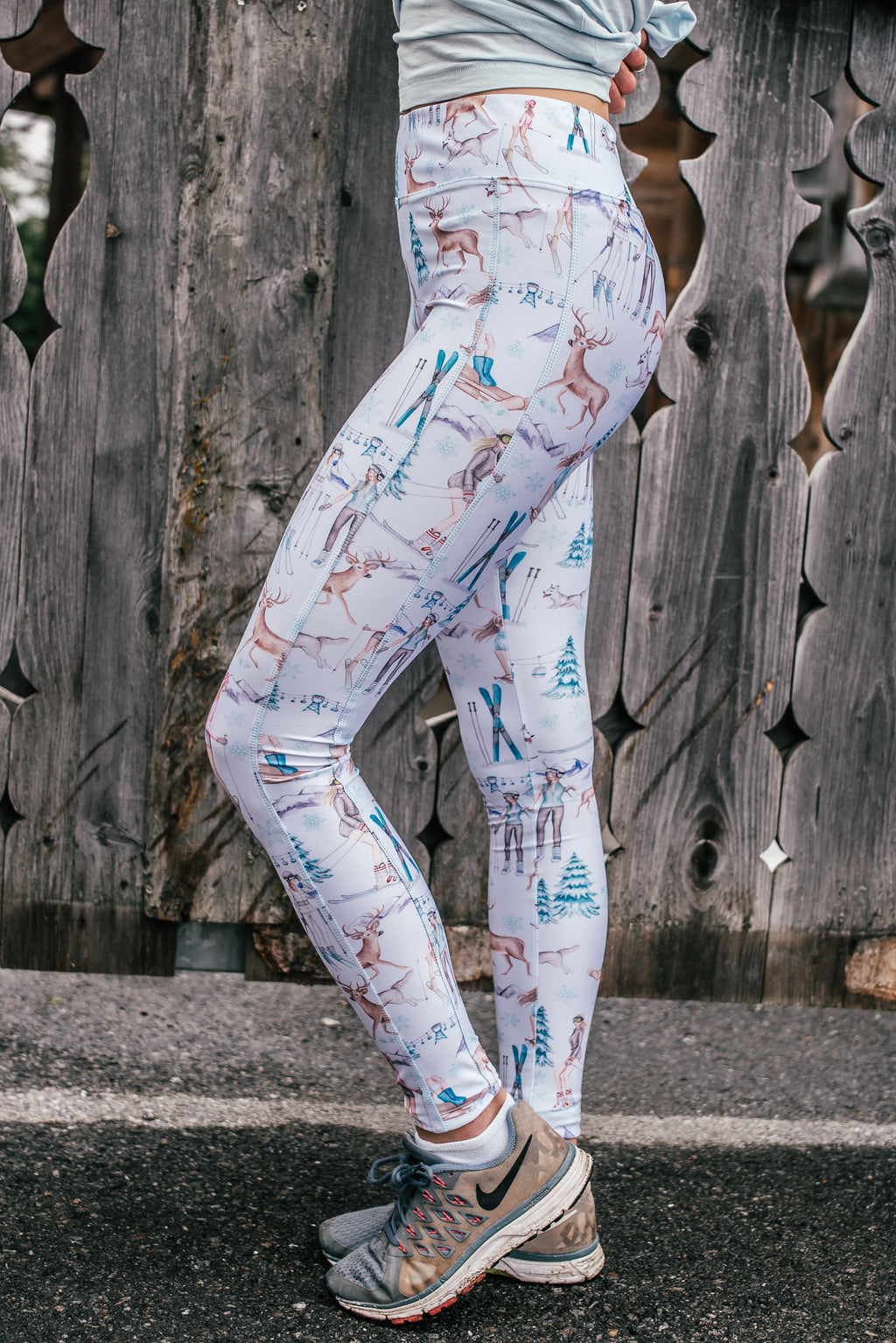 """SNOW FUN"" Performance Leggings - white"