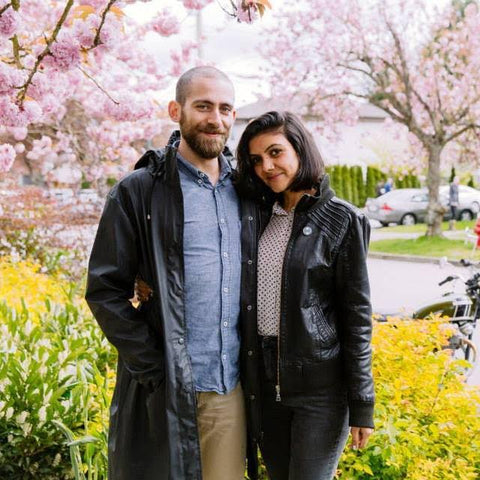 Fouad and Sonia pose with some of Vancouver's beautiful cherry blossom trees