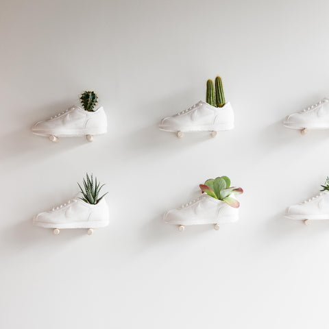 White plaster planters by Tinto Creative