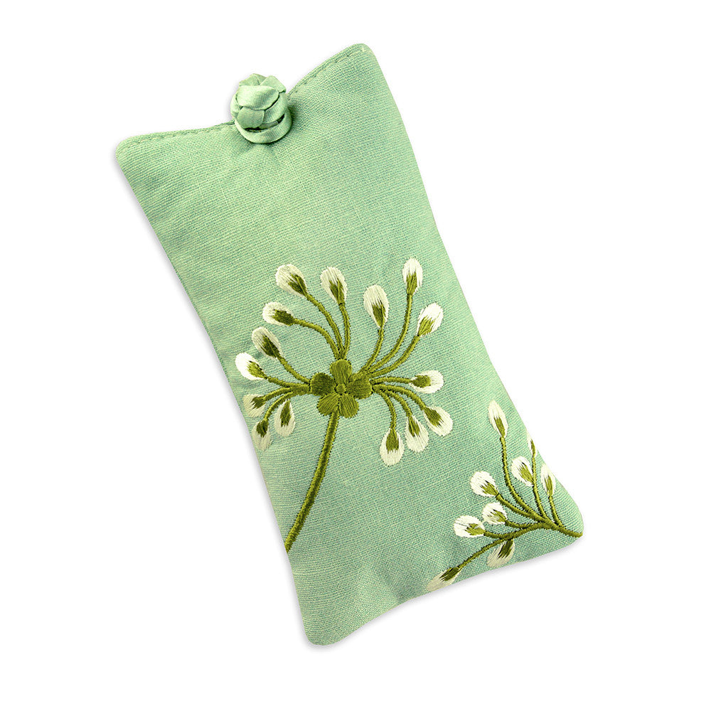 Eyeglass Pouch - Embroidered Dandelion (deep sea bronze)