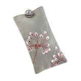 Eyeglass Pouch - Embroidered Dandelion (gray pink)