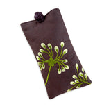 Eyeglass Pouch - Embroidered Dandelion (plum bronze)