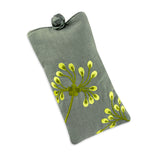 Eyeglass Pouch - Embroidered Dandelion (stone citron)