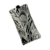 Eyeglass Pouch - Silk Brocade (feather silver)