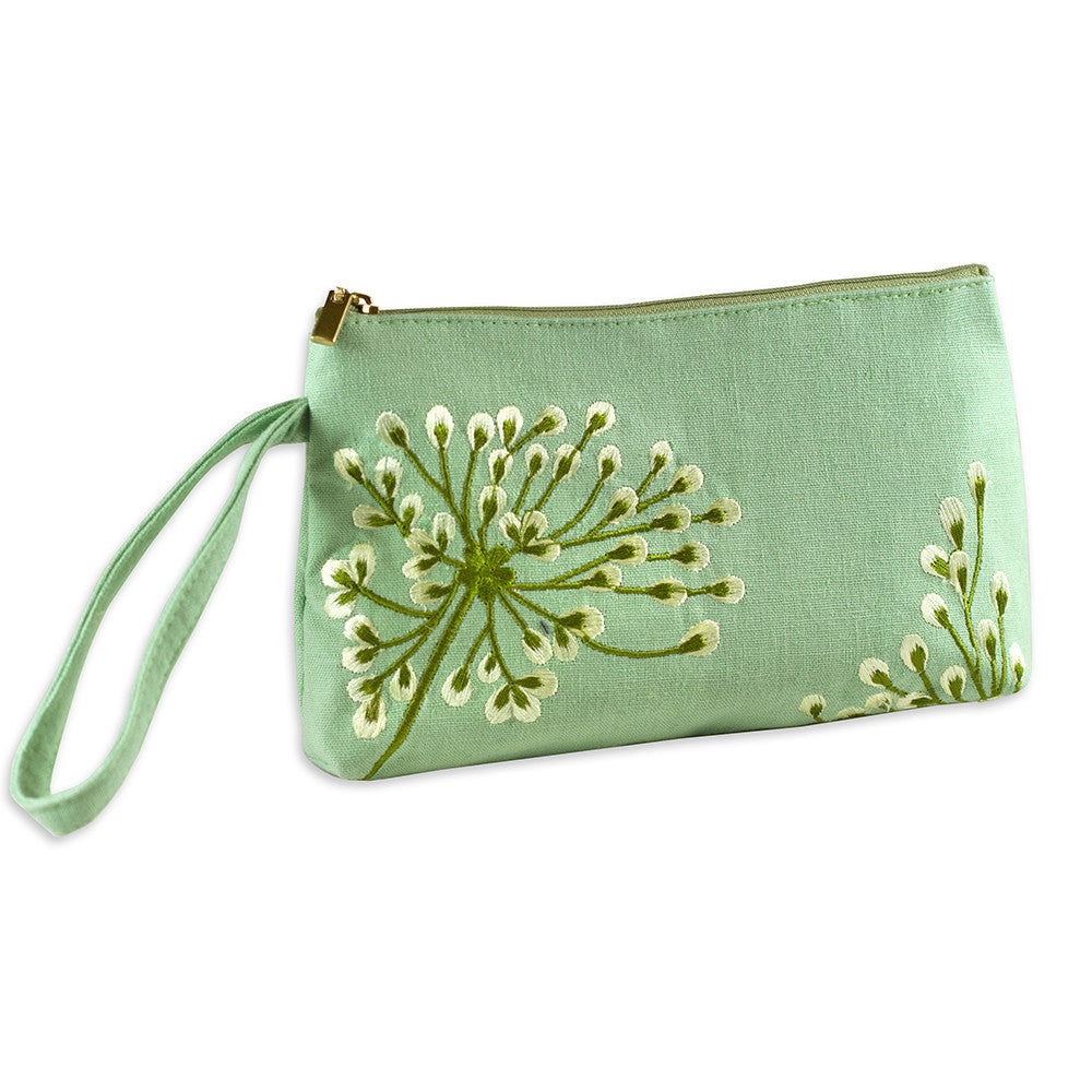 Wristlet - Embroidered Dandelion (deep sea bronze)