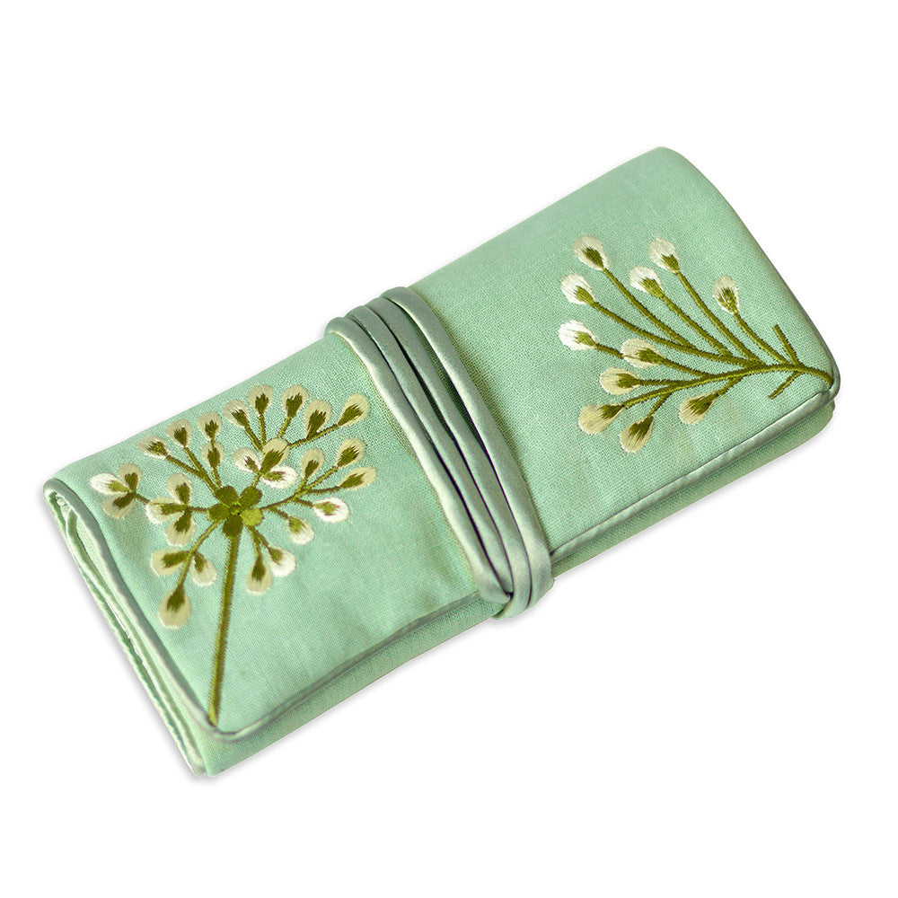 Jewelry Roll Clutch - Embroidered Dandelion (deep sea bronze)