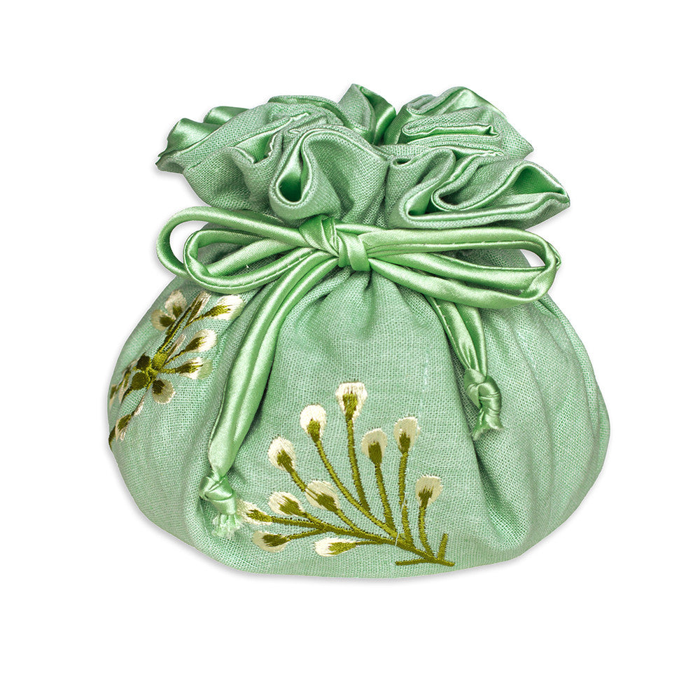 Drawstring Jewelry Pouch - Embroidered Dandelion (deep sea bronze)