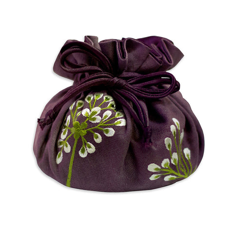 Embroidered Drawstring Jewelry Pouch