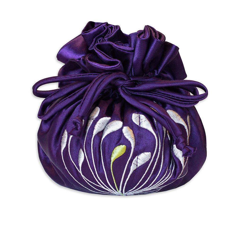 Drawstring Jewelry Pouch - Embroidered Dandelion (deep purple)