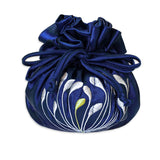 Drawstring Jewelry Pouch - Embroidered Dandelion (navy)