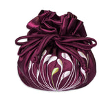 Drawstring Jewelry Pouch - Embroidered Dandelion (raspberry)