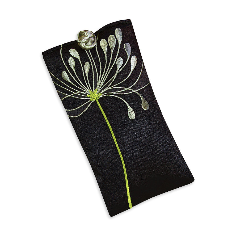 Eyeglass Pouch - Embroidered Chrysanthemum (black)