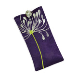 Eyeglass Pouch - Embroidered Chrysanthemum (deep purple)