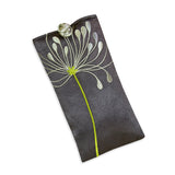 Eyeglass Pouch - Embroidered Chrysanthemum (gunmetal)