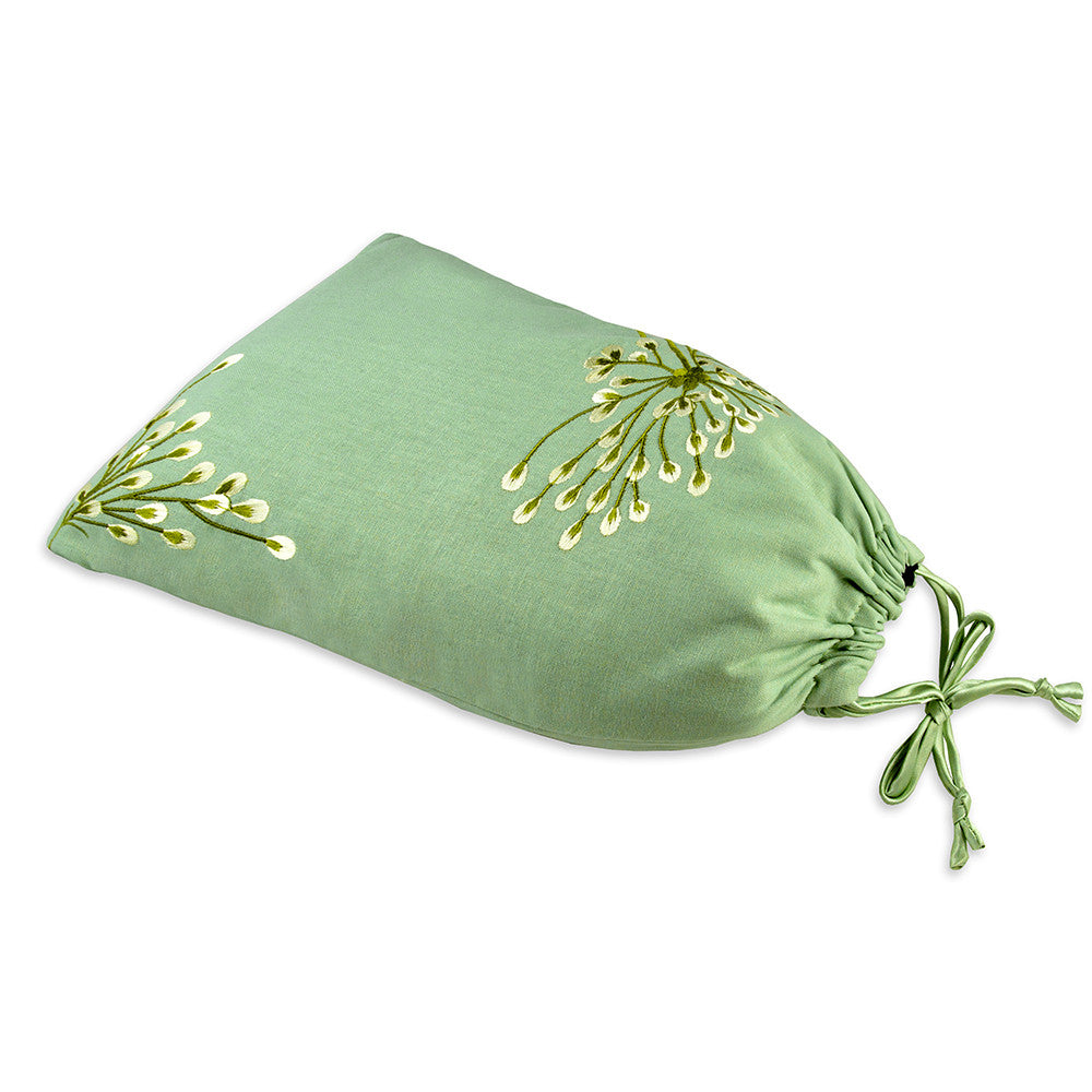 Shoe Pouch - Embroidered Dandelion (deep sea bronze)