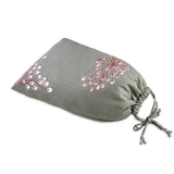 Shoe Pouch - Embroidered Dandelion (gray pink)