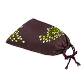 Shoe Pouch - Embroidered Dandelion (plum bronze)