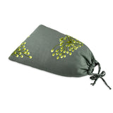 Shoe Pouch - Embroidered Dandelion (stone citron)
