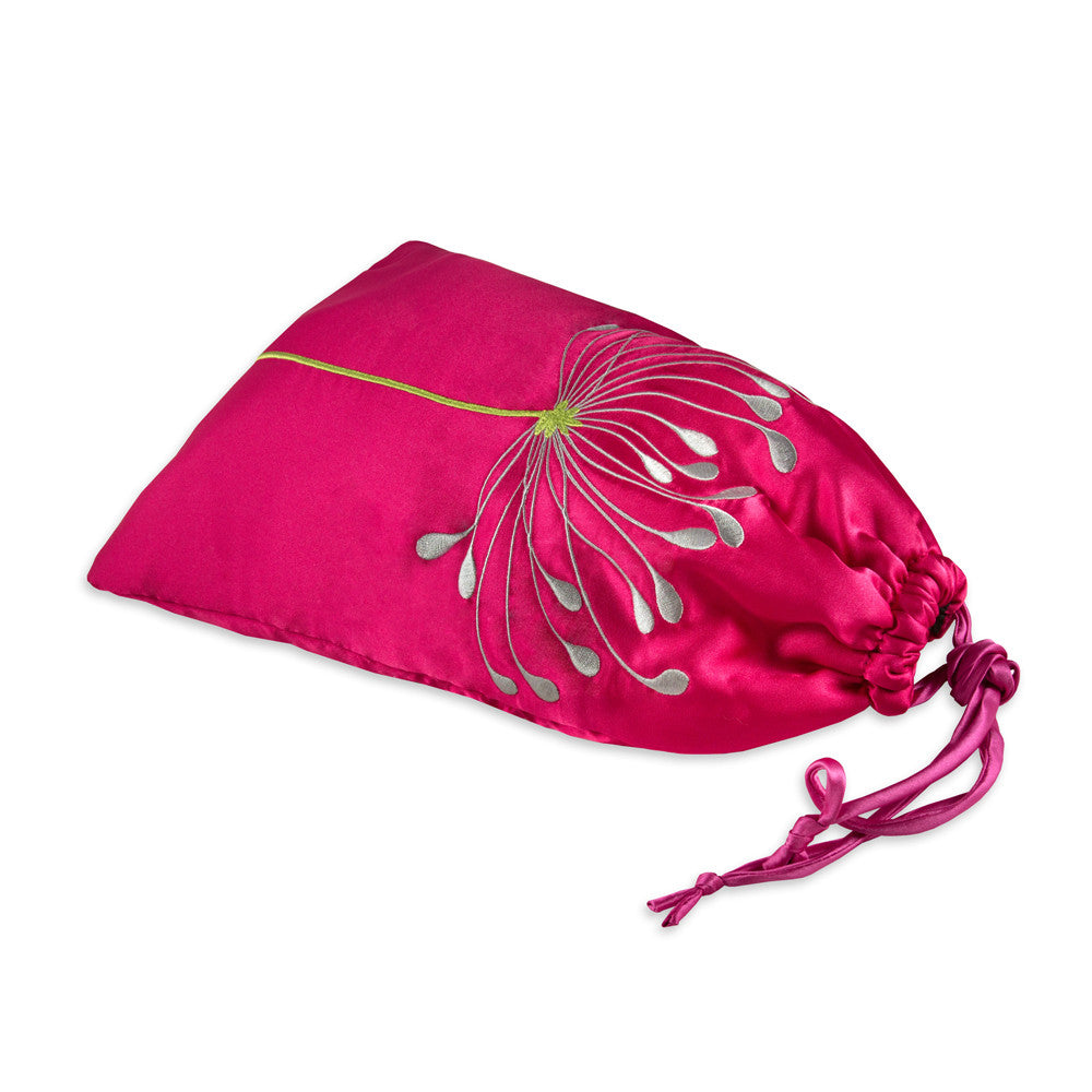 Shoe Pouch - Embroidered Chrysanthemum (fuchsia)