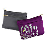 Zip Wallet - Embroidered Chrysanthemum (black, fuchsia, deep purple, dusk, gunmetal, navy, peacock, purple plum, seafoam)