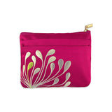 Zip Wallet - Embroidered Chrysanthemum (fuchsia)