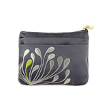 Zip Wallet - Embroidered Chrysanthemum (gunmetal)