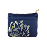 Zip Wallet - Embroidered Chrysanthemum (navy)