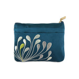 Zip Wallet - Embroidered Chrysanthemum (peacock)