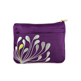 Zip Wallet - Embroidered Chrysanthemum (purple plum)