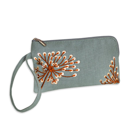 Embroidered Zip Wristlet