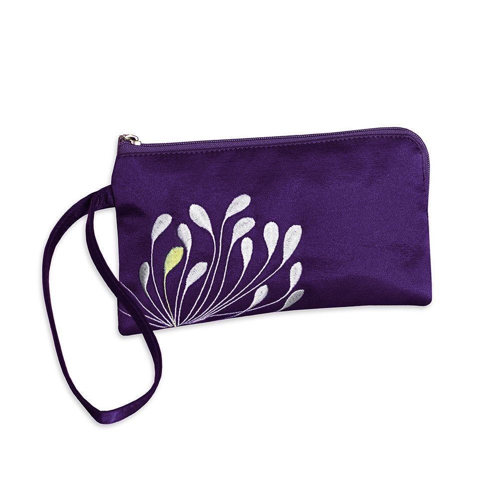 Zip Wristlet - Embroidered Chrysanthemum (deep purple)