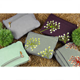 Zip Wallet - Embroidered Dandelion (deep sea bronze, gray pink, plum bronze, stone citron, stone coral)