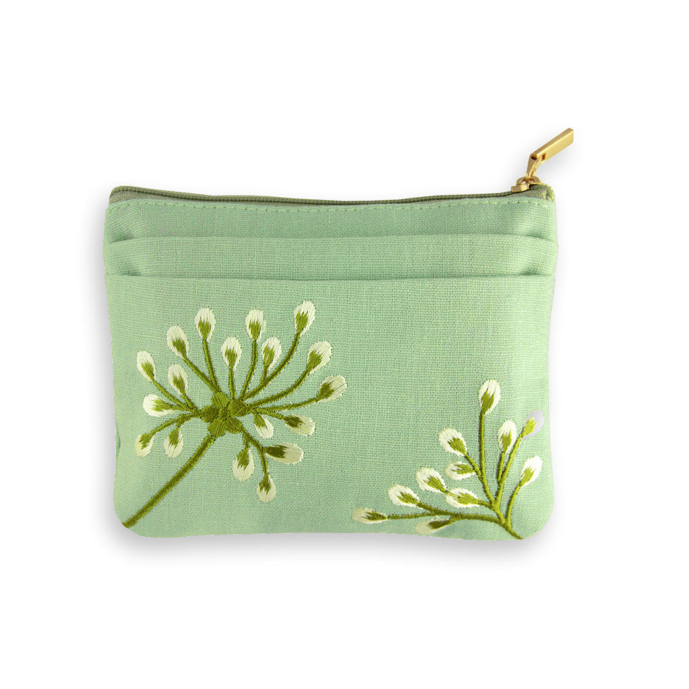 Zip Wallet - Embroidered Dandelion (deep sea bronze)