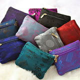 Zip Wallet Small - Silk Jacquard (black, chili red, cobalt blue, deep purple, fuchsia, gray, midnight navy, orchid, peachrose, peacock, rustic copper, violet)