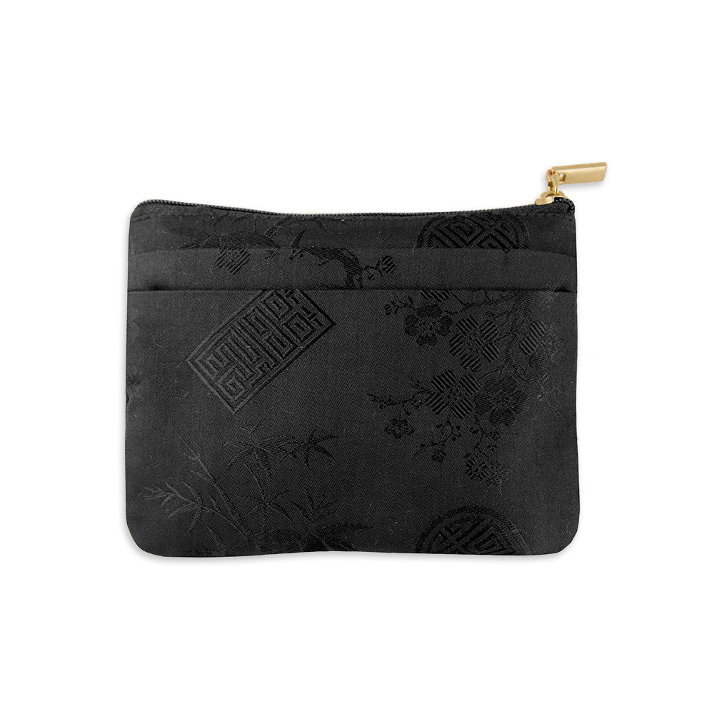 Zip Wallet Small - Silk Jacquard (black)