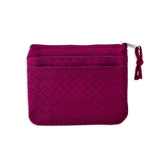 Zip Wallet Small - Silk Jacquard (geometric raspberry)
