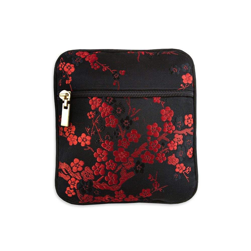 Coin Pouch - Silk Brocade (cherry blossom black red)