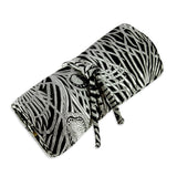 Jewelry Roll Clutch - Silk Brocade (feather silver)