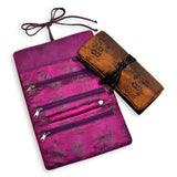 Jewelry Roll Clutch - Silk Jacquard (chili red, deep purple, geometric chili red, gray, violet)