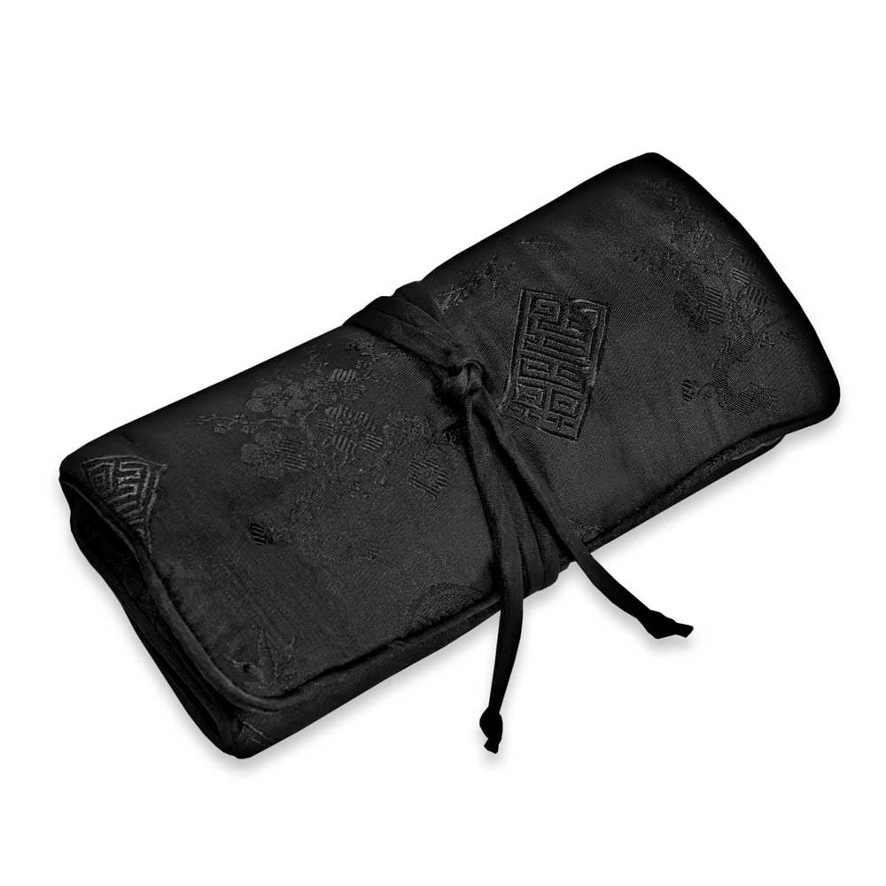 Jewelry Roll Clutch - Silk Jacquard (black)