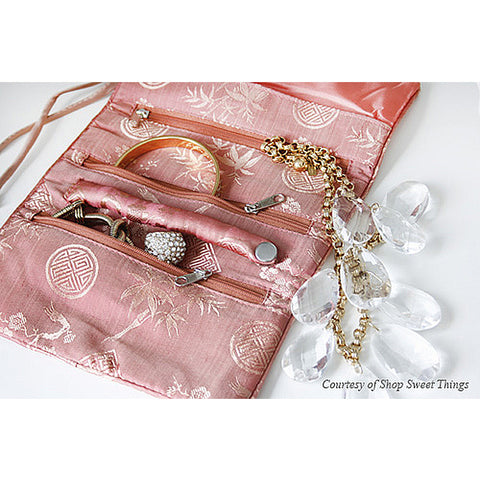 Silk Jacquard Jewelry Roll Clutch