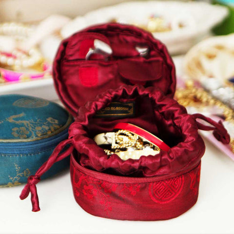 Silk Jacquard Travel Jewelry Case