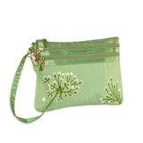 3 Zip Wristlet - Embroidered Dandelion (deep sea bronze)