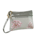 3 Zip Wristlet - Embroidered Dandelion (gray pink)