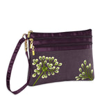 3 Zip Wristlet - Embroidered Dandelion (plum bronze)