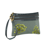 3 Zip Wristlet - Embroidered Dandelion (stone citron)