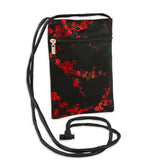 Travel Neck Pouch - Silk Brocade (cherry blossom black red)