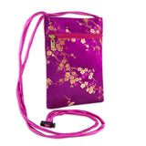 Travel Neck Pouch - Silk Brocade (cherry blossom fuchsia)